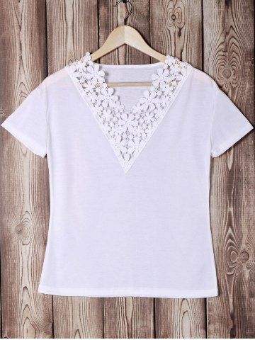 Trendy Trendy V-Neck Short Sleeve Lace Spliced Solid Color Women's T-Shirt WHITE S