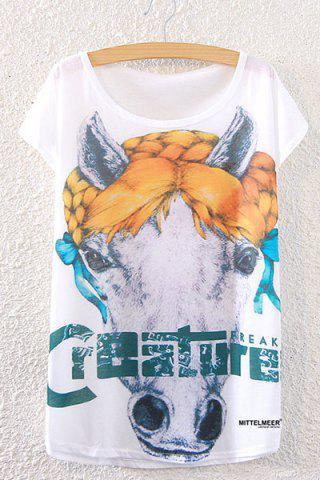 Outfit Fashionable Scoop Neck Horse Print Loose-Fitting Women's T-Shirt