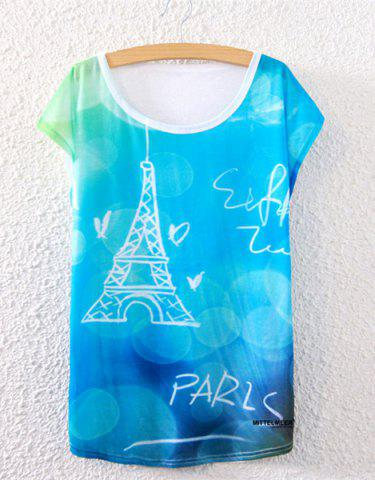 Affordable Trendy Scoop Collar Tower Pattern Loose-Fitting Women's T-Shirt