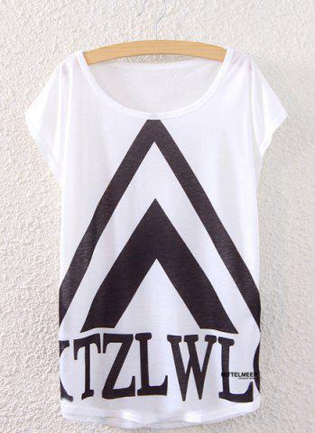 Hot Trendy Scoop Neck Geometric Print Loose-Fitting Women's T-Shirt