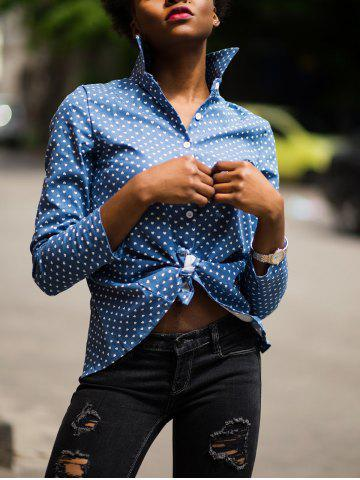 Discount Stylish Stand-Up Collar Long Sleeve Slit Polka Dot Women's Shirt BLUE L