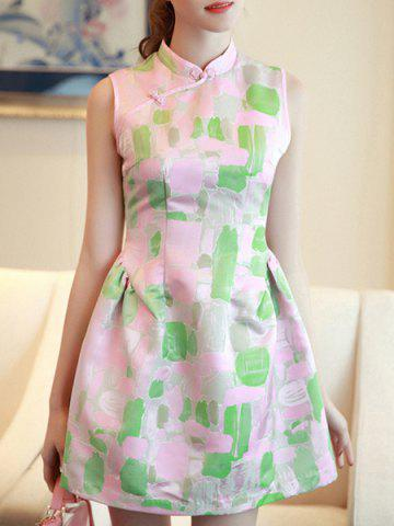 Vintage Mandarin Collar Sleeveless Jacquard Design Women's Bubble Dress