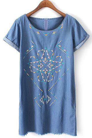 Unique Chic Round Neck Short Sleeve Embroidered Women's Denim Dress