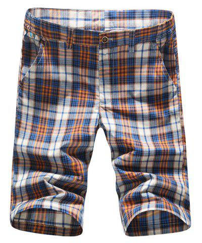Outfit Stylish Straight Leg Plaid Printing Zipper Fly Shorts For Men