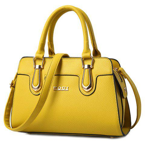 Fashion Fashionable Solid Color and Metal Design Tote Bag For Women YELLOW