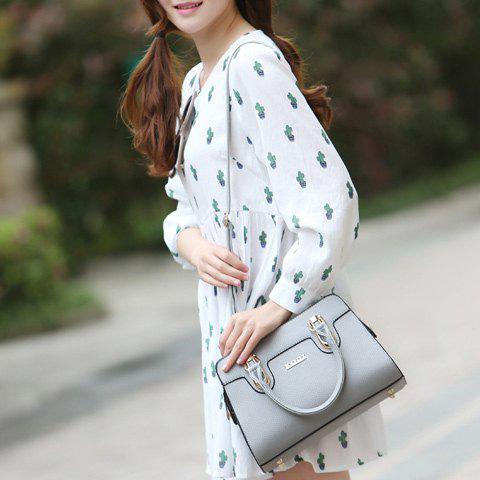 Sale Fashionable Solid Color and Metal Design Tote Bag For Women - GRAY  Mobile
