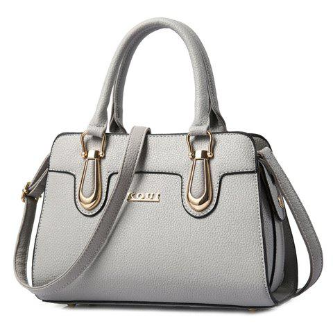 Shops Fashionable Solid Color and Metal Design Tote Bag For Women - GRAY  Mobile