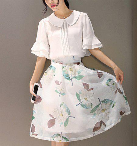 Fancy Women's Trendy 1/2 Sleeve Blouse + Floral Print Skirt - S WHITE Mobile