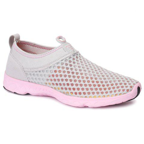 Affordable Trendy Breathable and Solid Color Design Athletic Shoes For Women - 38 LIGHT GRAY Mobile