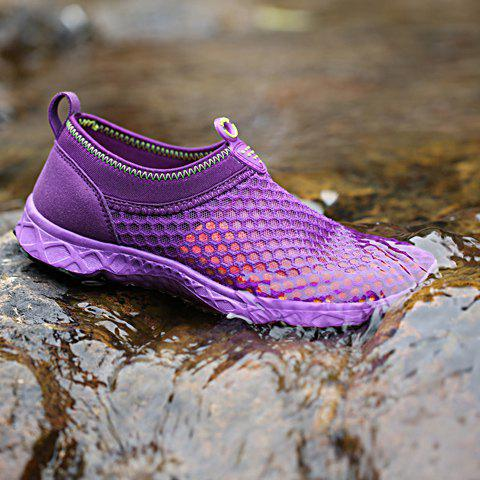 Buy Trendy Breathable and Solid Color Design Athletic Shoes For Women - 36 PURPLE Mobile