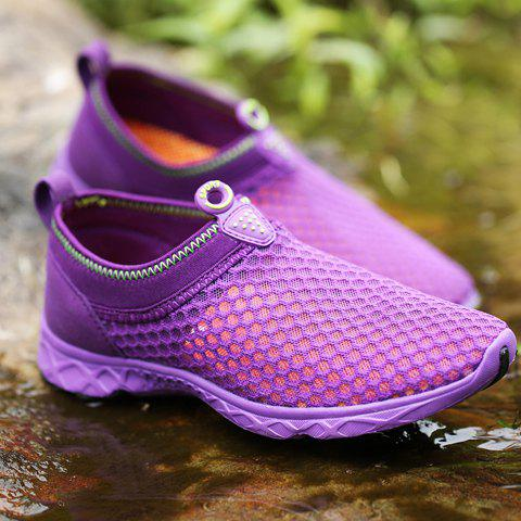 Unique Trendy Breathable and Solid Color Design Athletic Shoes For Women - 38 PURPLE Mobile