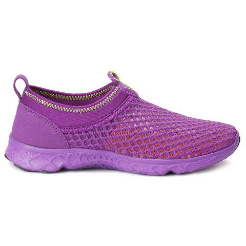 Outfit Trendy Breathable and Solid Color Design Athletic Shoes For Women - 37 PURPLE Mobile