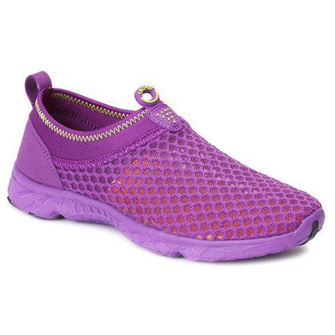 Buy Trendy Breathable and Solid Color Design Athletic Shoes For Women - 37 PURPLE Mobile