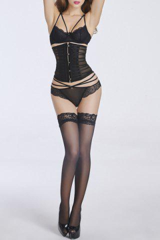 Chic Trendy Button Embellished See-Through Patchwork Women's Corset