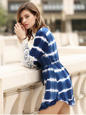 Outfits Stylish Long Sleeve Lace Embellished Striped Women's Dress - XL BLUE Mobile