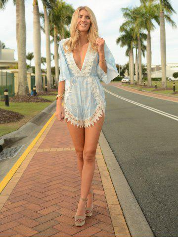 Online Stylish Plunging Neck Printed Lace Embellished Women's Romper - S WATER BLUE Mobile