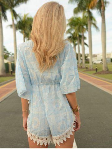 Affordable Stylish Plunging Neck Printed Lace Embellished Women's Romper - S WATER BLUE Mobile