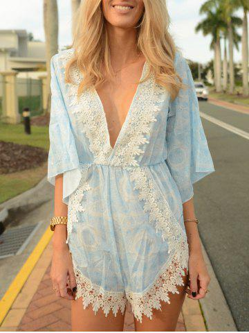 Online Stylish Plunging Neck Printed Lace Embellished Women's Romper WATER BLUE L