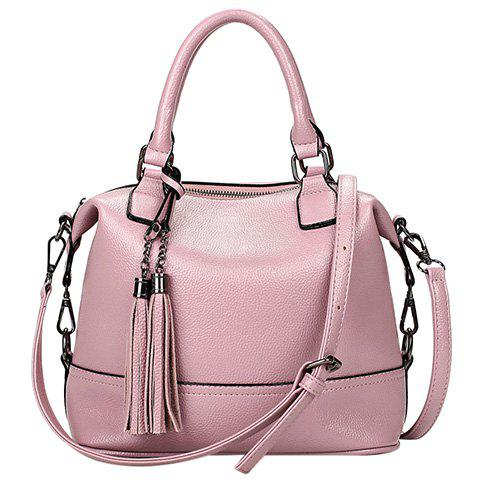Shop Stylish Tassels and Solid Color Design Tote Bag For Women PINK