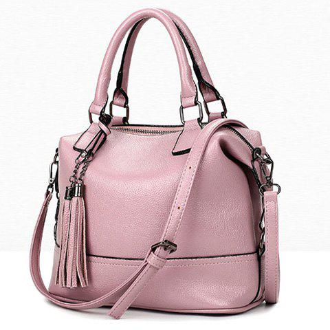 Hot Stylish Tassels and Solid Color Design Tote Bag For Women - PINK  Mobile