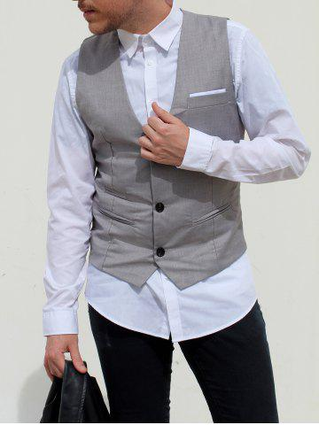 Shop V-Neck Single Breasted Edging Solid Color Sleeveless Waistcoat For Men GRAY M