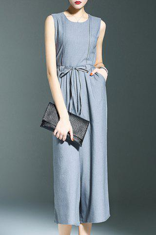Shops Stylish Round Neck Sleeveless Belted Solid Color Women's Jumpsuit