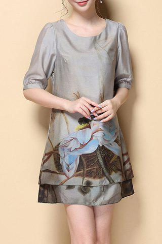 Latest Stylish Round Neck Half Sleeve Printed Chiffon Women's Dress
