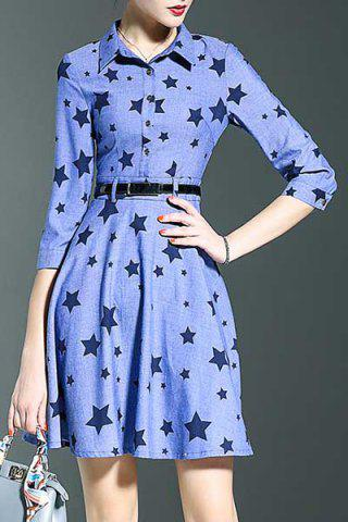 Affordable Stylish Shirt Collar 3/4 Sleeve Fitting Star Print Women's Dress