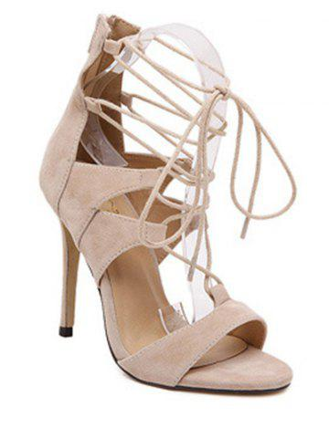 Fancy Lace Up Gladiator Sandals with Heel