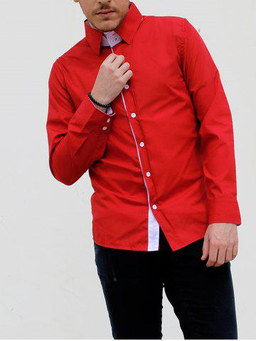 Turn-Down Collar Double-Layered Design Long Sleeve Slimming Men's Shirt - Red - M