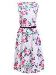 Vintage Jewel Neck Sleeveless Floral Print Midi Dress For Women