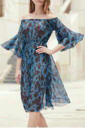 Off The Shoulder Printed Chiffon Dress - BLUE