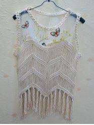 Chic Butterfly Pattern Spliced Fringed Asymmetrical Women's Cover-Up -