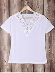 Trendy V-Neck Short Sleeve Lace Spliced Solid Color Women's T-Shirt