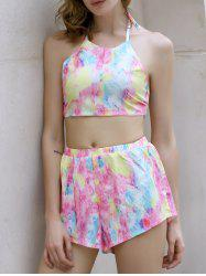 Alluring Tie-Dyed Halter Crop Top + Shorts Women's Twinset - COLORMIX