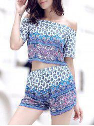 Sweet Tribal Print Off-The-Shoulder Top + Shorts Women's Twinset -
