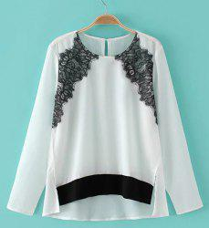 Stylish Long Sleeve Lace Embellished Women's Chiffon Blouse -