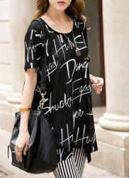 Casual Plus Size Short Sleeve Letter Print Asymmetric Women's T-Shirt -