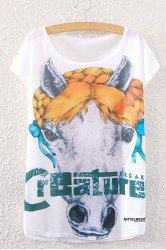 Fashionable Scoop Neck Horse Print Loose-Fitting Women's T-Shirt -