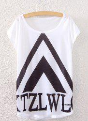 Trendy Scoop Neck Geometric Print Loose-Fitting Women's T-Shirt -