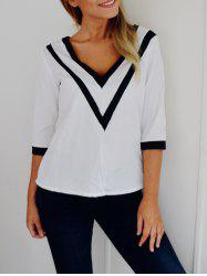 Fashion Plunging Neck 3/4 Sleeve Striped Loose-Fitting T-Shirt For Women -