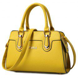Fashionable Solid Color and Metal Design Tote Bag For Women - YELLOW