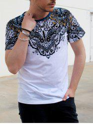 Vintage Round Neck Totem Print Color Block Short Sleeves Fitted T-Shirt For Men - WHITE