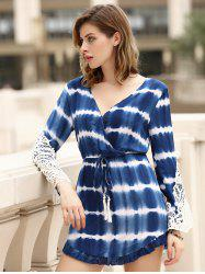 Stylish Long Sleeve Lace Embellished Striped Women's Dress - BLUE