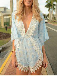 Stylish Plunging Neck Printed Lace Embellished Women's Romper -