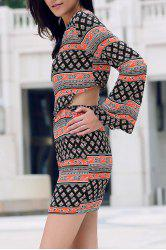 Trendy Tribal Print Long Sleeve Crop Top and Mini Skirt Women's Twinset