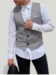 V-Neck Single Breasted Edging Solid Color Sleeveless Waistcoat For Men -