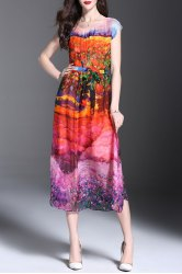 Scoop Neck Floral Print Belted Dress - COLORMIX