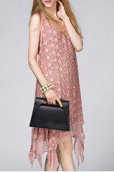 See-Through Embroidered Midi Dress -