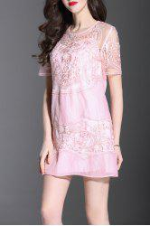 Embroidered Mini Dress with Tank Top -